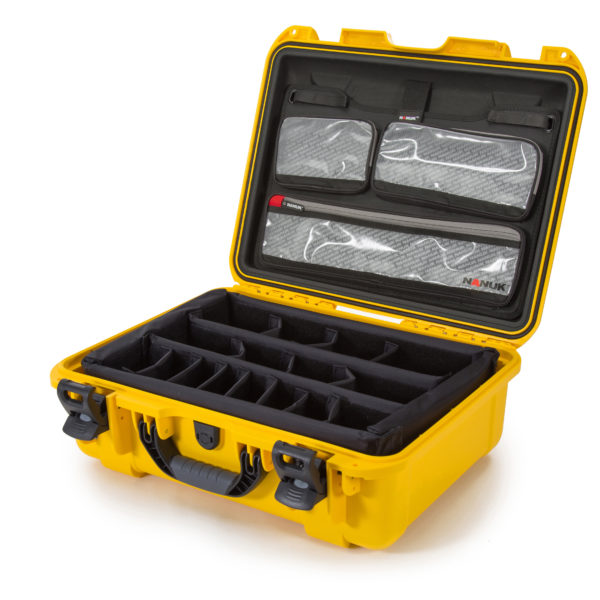 Leafield Cases | Nanuk Cases | 930 yellow case with lid organisers and padded divider