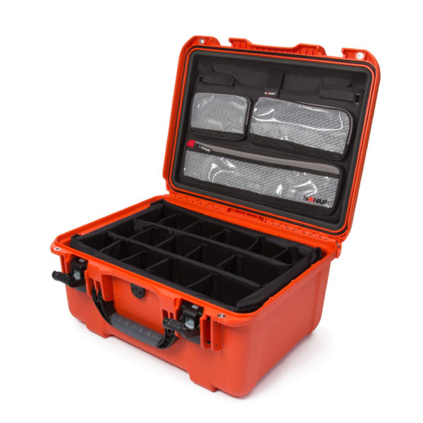 Leafield Cases | Nanuk Cases | 933 orange case with lid organisers and padded divider